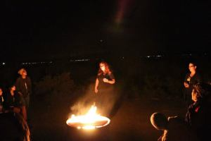 Faith reading at Salton Sea - Day of the Dead