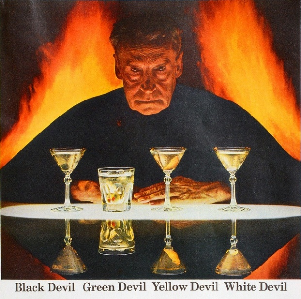 lucifer mixes drinks