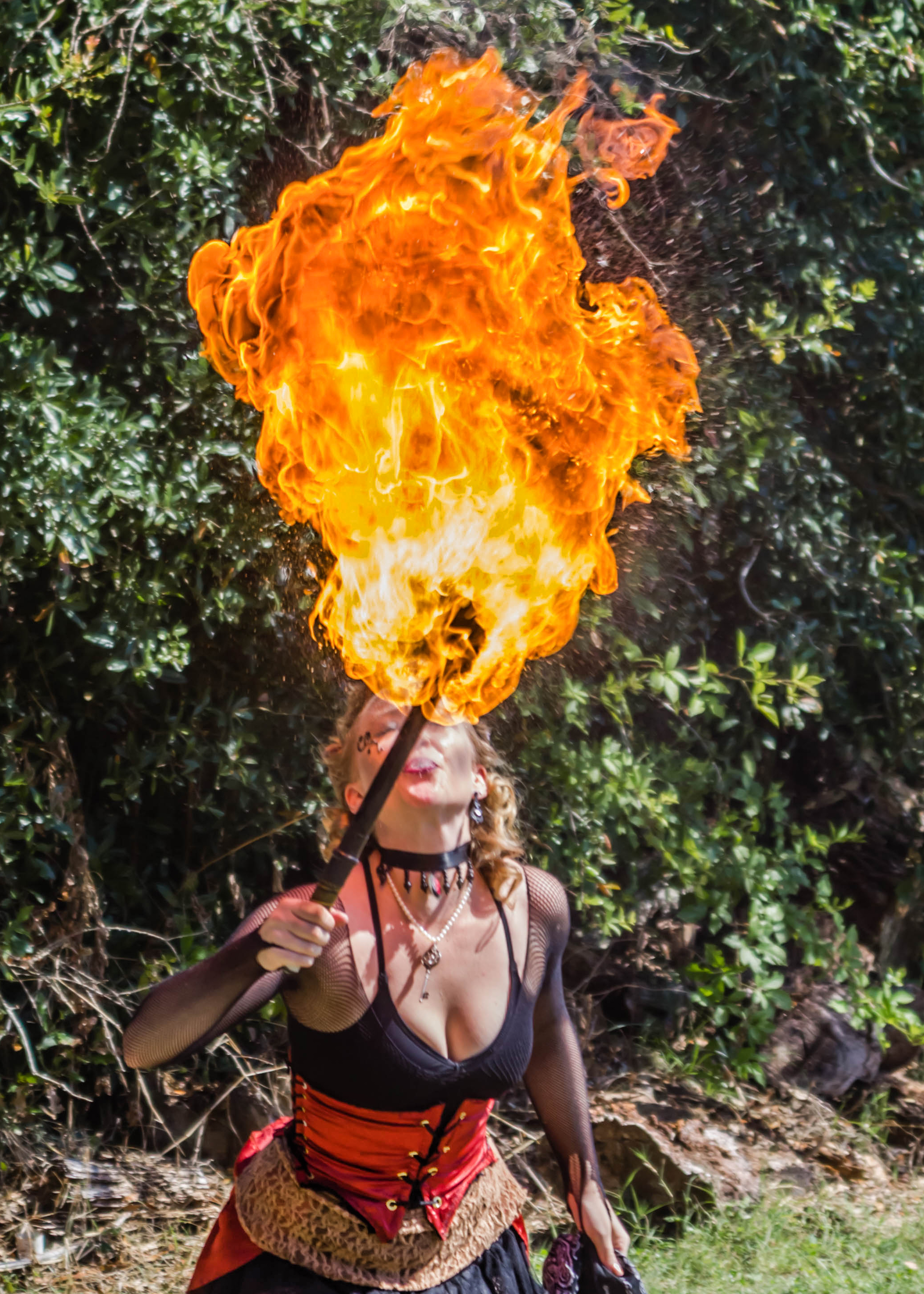 Cimorene (Dion Leonhard) of Phantasmagoria breathes fire at Reninger's Industrial Steampunk Show in Mt. Dora Oct. 17, 2015.