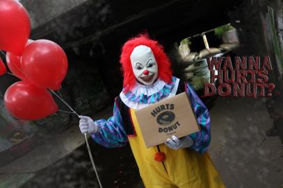Hurts Donut creepy clown delivery