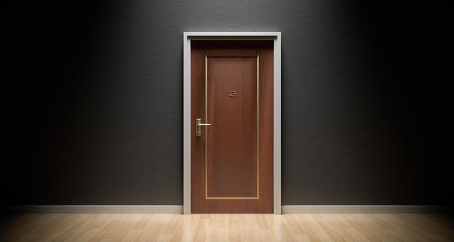 Door with an unlucky 13 on it